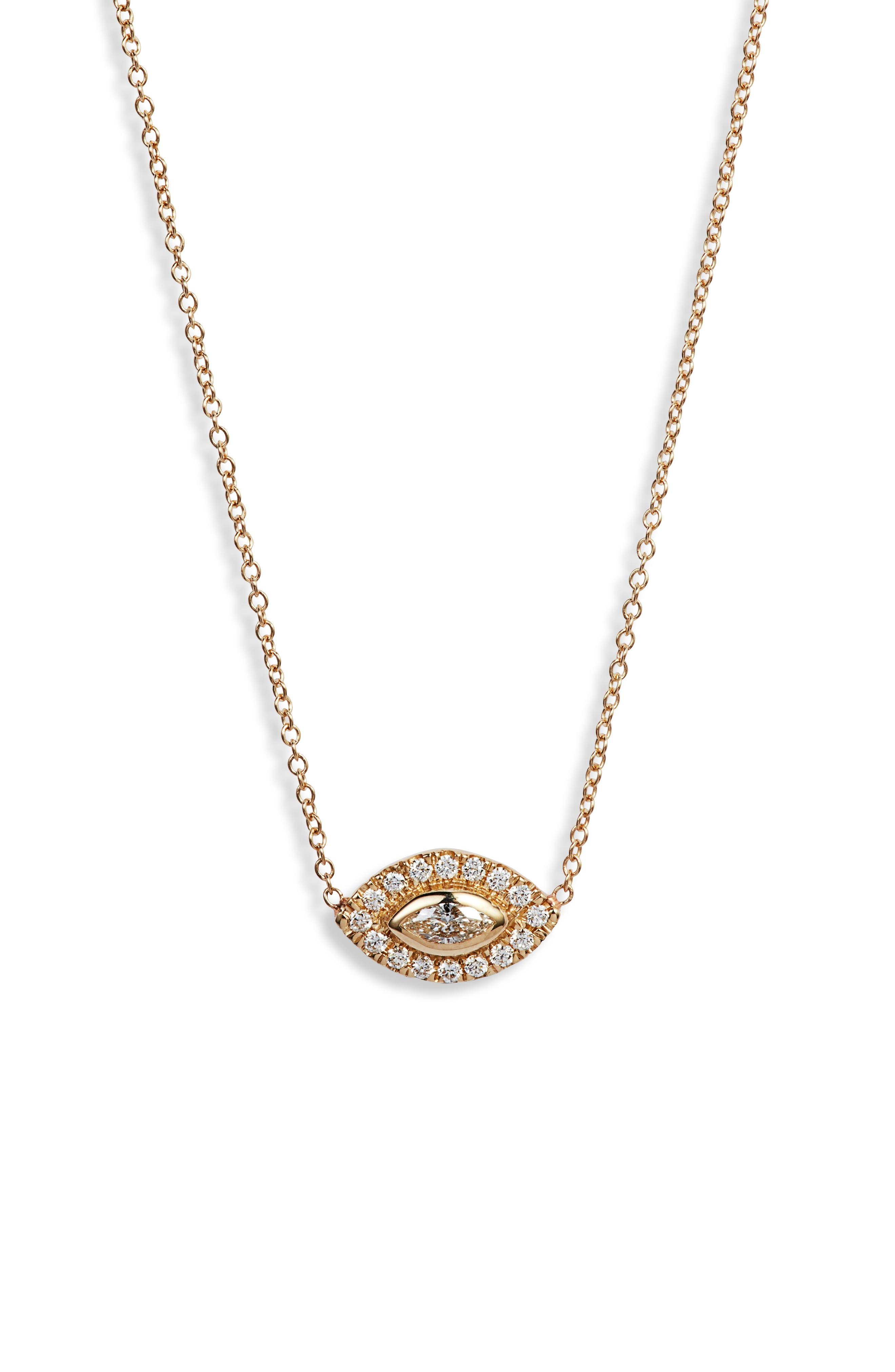 Zoe Chicco Diamond Halo Pendant Necklace
