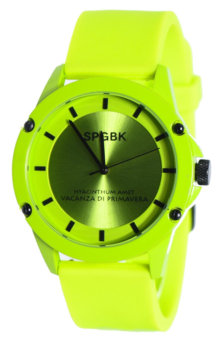 SPGBK WATCHES Pine Forest Silicone Strap Watch, 44mm, Main, color, LIME