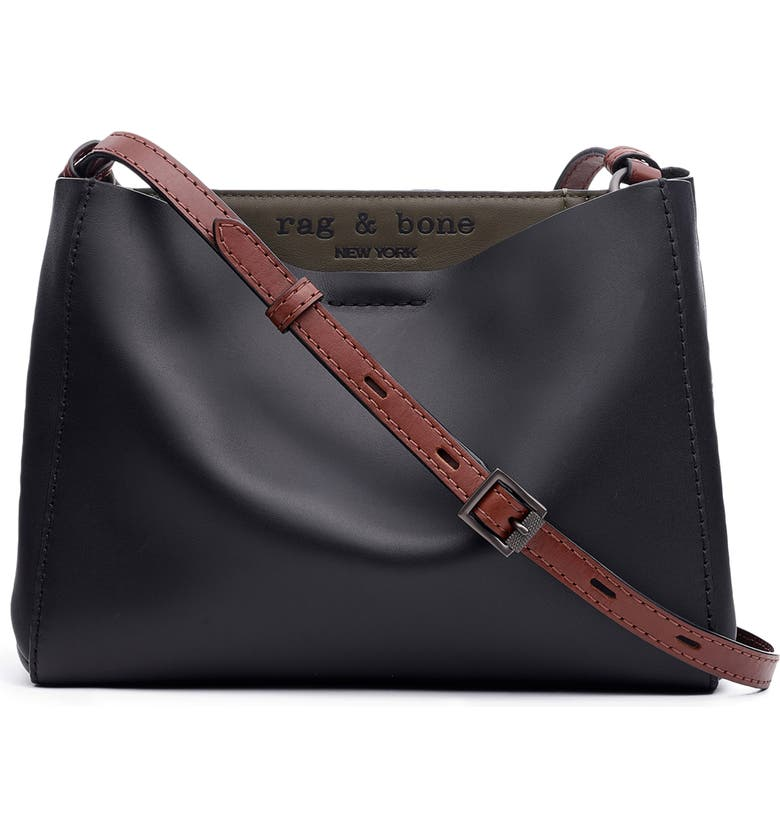 RAG & BONE Passenger Leather Crossbody Bag, Main, color, BLACK/ OLVNGT