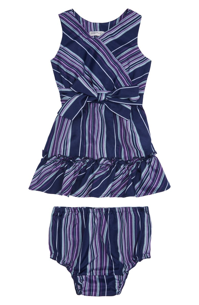 HABITUAL KIDS Stripe Bow Front Dress, Main, color, 400