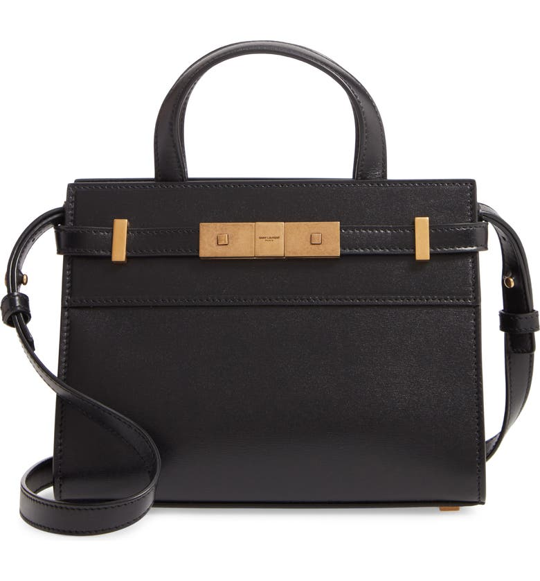 SAINT LAURENT Nano Manhattan Leather Crossbody Bag, Main, color, NOIR