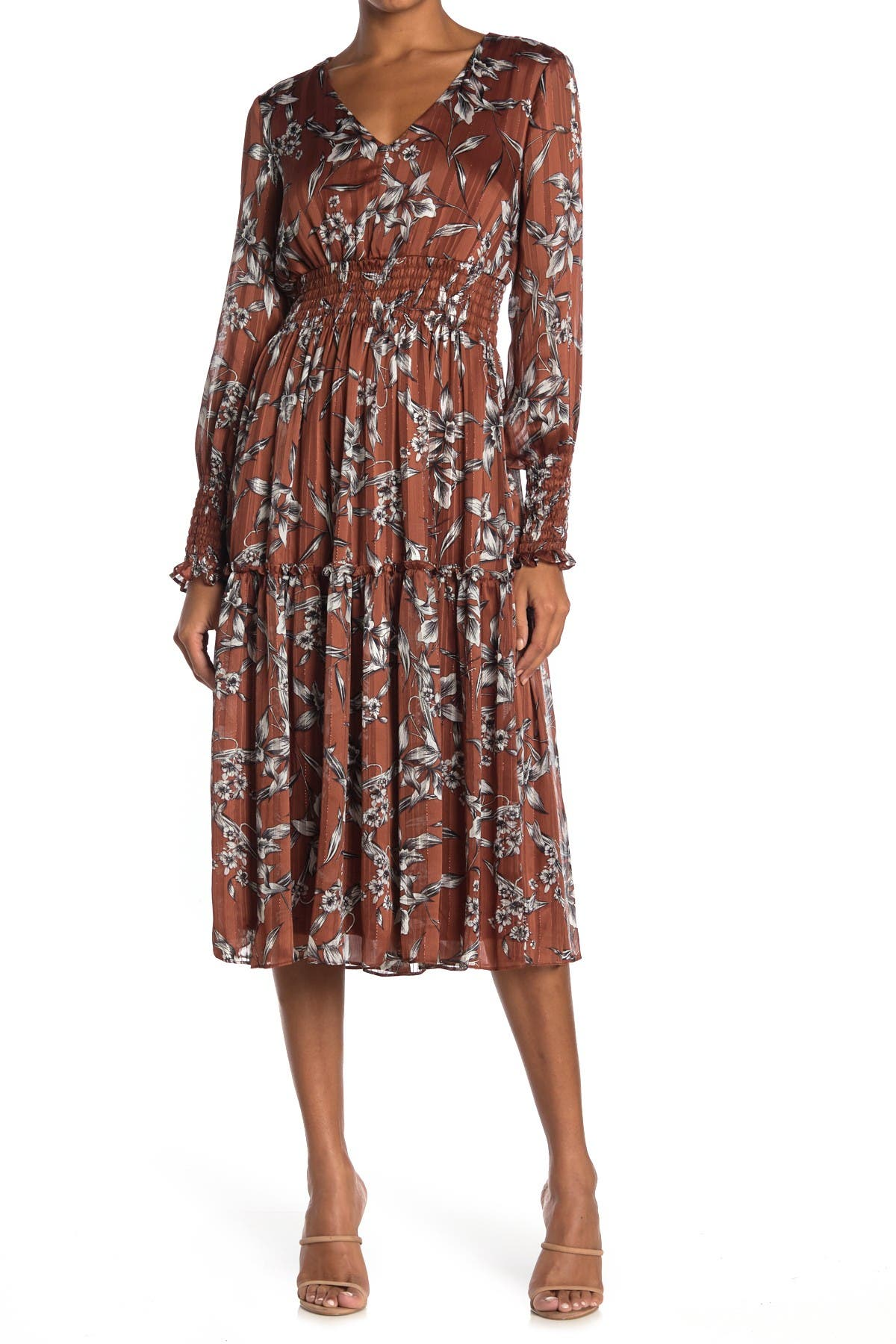 Image of Taylor Floral Midi Smocked Chiffon Dress
