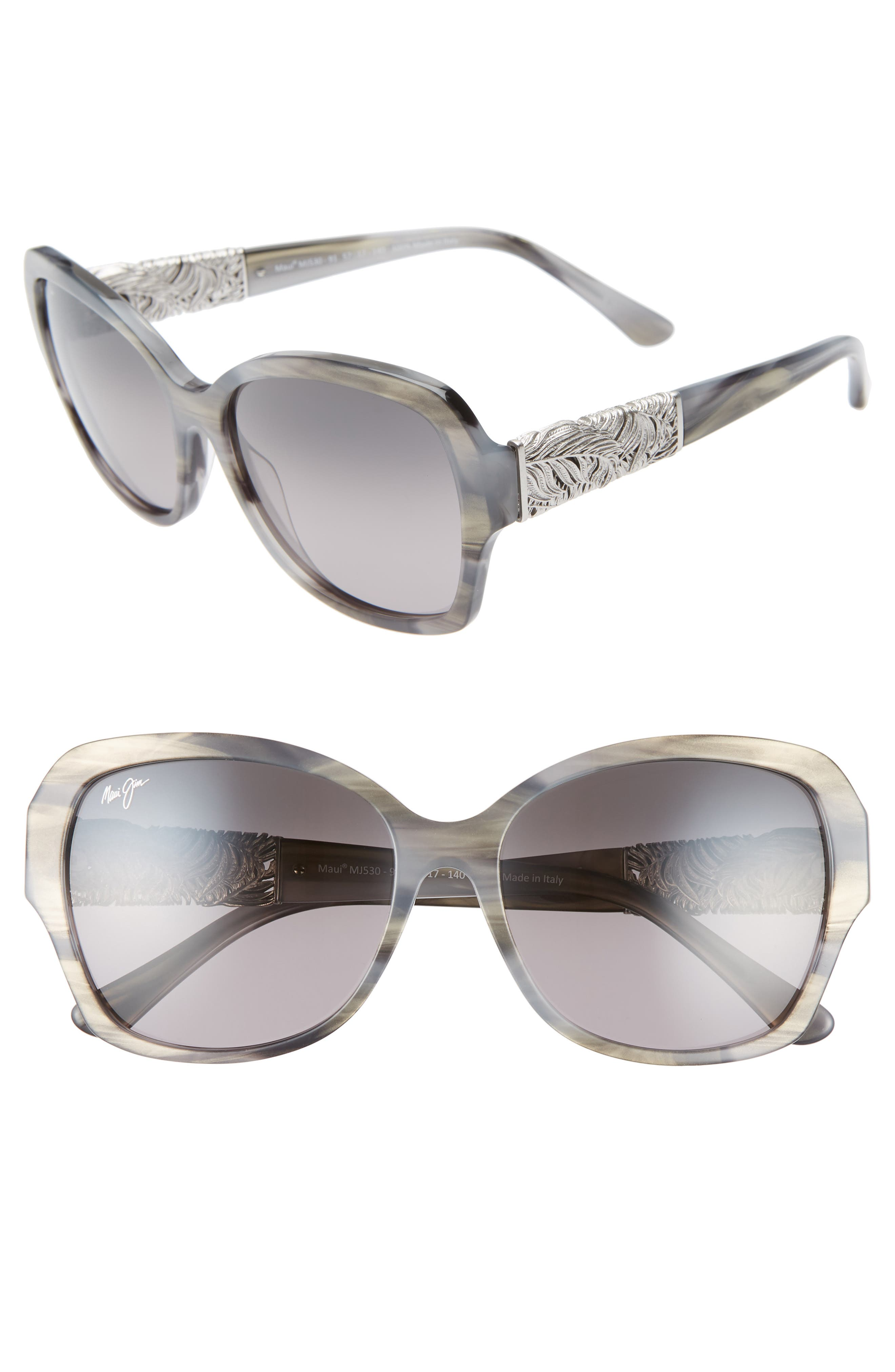 Swaying Palms 57mm Polarized Butterfly Sunglasses, Main, color, BLUE GREY PEARL/ WHITE GOLD