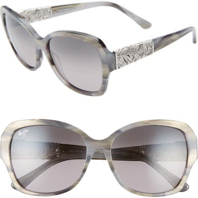 Maui Jim Swaying Palms 57Mm Polarized Butterfly Sunglasses - Blue Grey Pearl/ White Gold