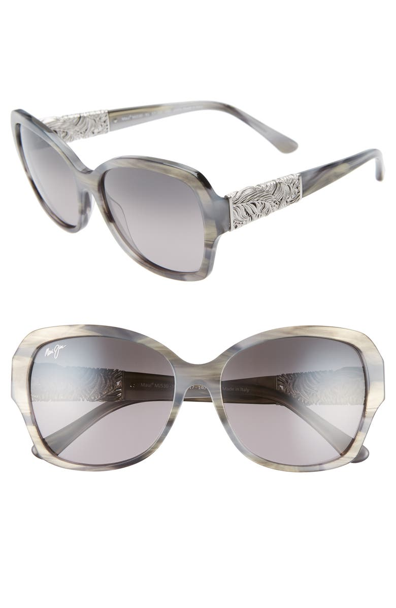 MAUI JIM Swaying Palms 57mm PolarizedPlus2<sup>®</sup> Butterfly Sunglasses, Main, color, BLUE GREY PEARL/ WHITE GOLD