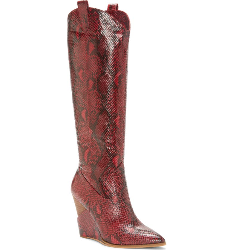 JESSICA SIMPSON Havrie Knee High Boot, Main, color, RED SNAKE PRINT LEATHER