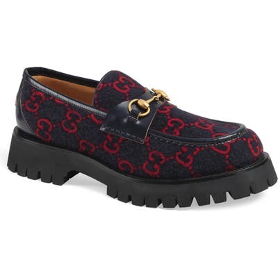 Gucci Bit Wool Loafer, Blue