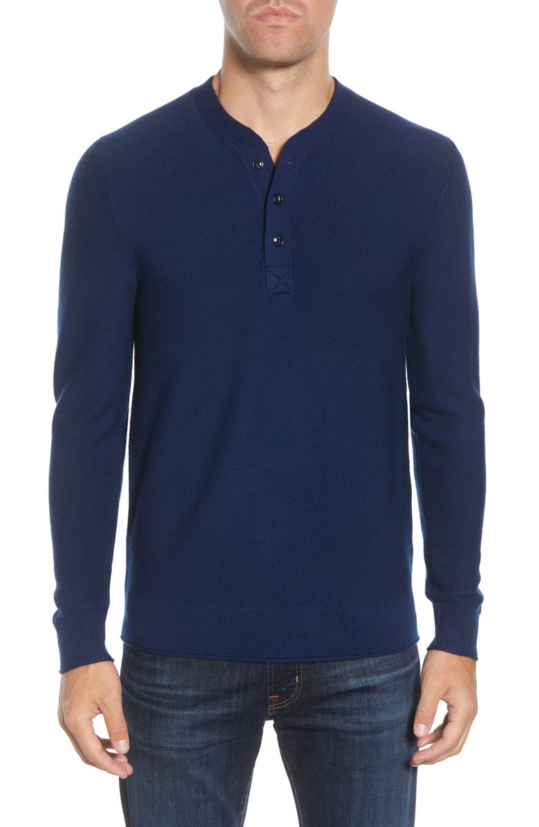 BONOBOS Merino Wool Knit Henley, Main, color, INKWELL