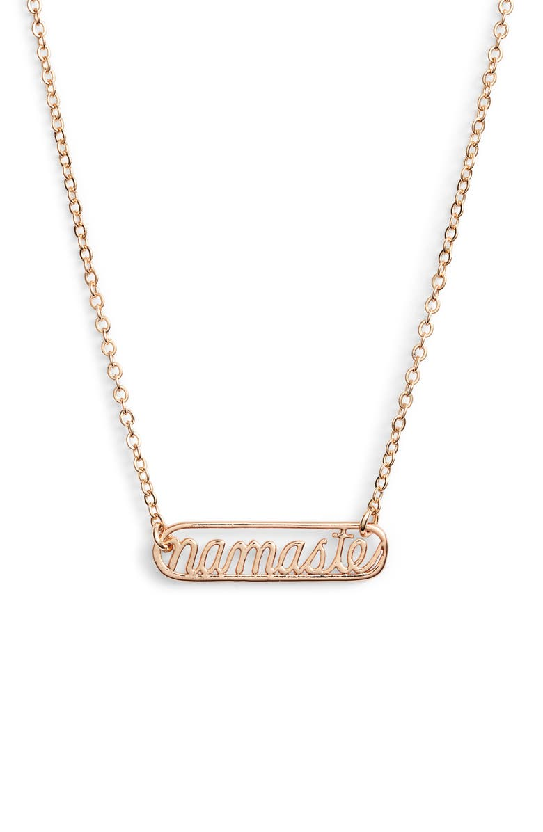 TEN79LA Namaste Plate Necklace, Main, color, GOLD