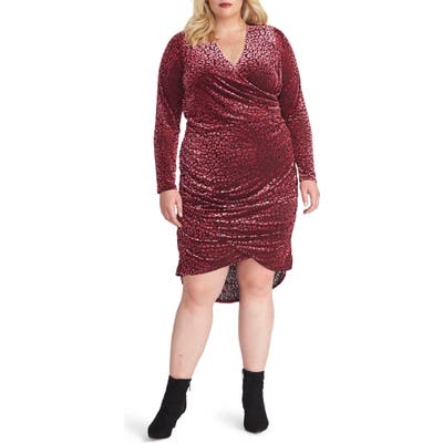 Plus Size Rachel Rachel Roy Willa Leopard Burnout Long Sleeve Dress, Pink