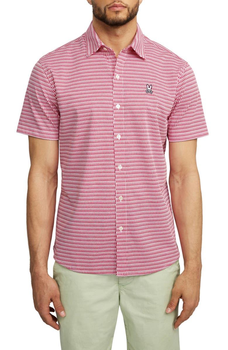 PSYCHO BUNNY Barrow Short Sleeve Button-Up Shirt, Main, color, ANEMONE