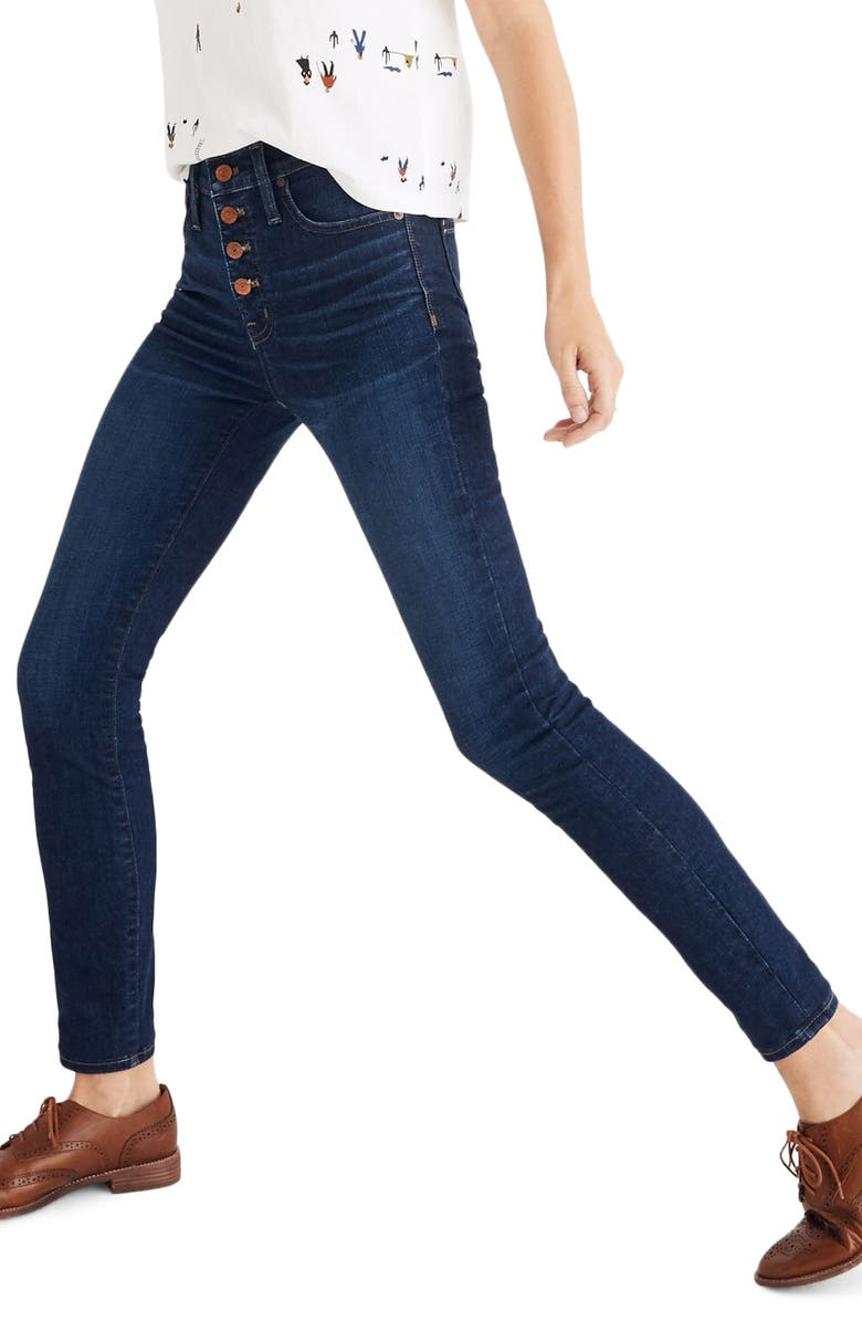 MADEWELL Button Front High Waist Skinny Jeans, Main, color, HAYES WASH