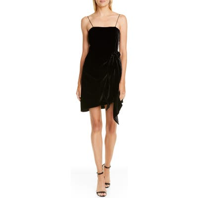 Cinq A Sept Kiki Knotted Velvet Minidress, Black