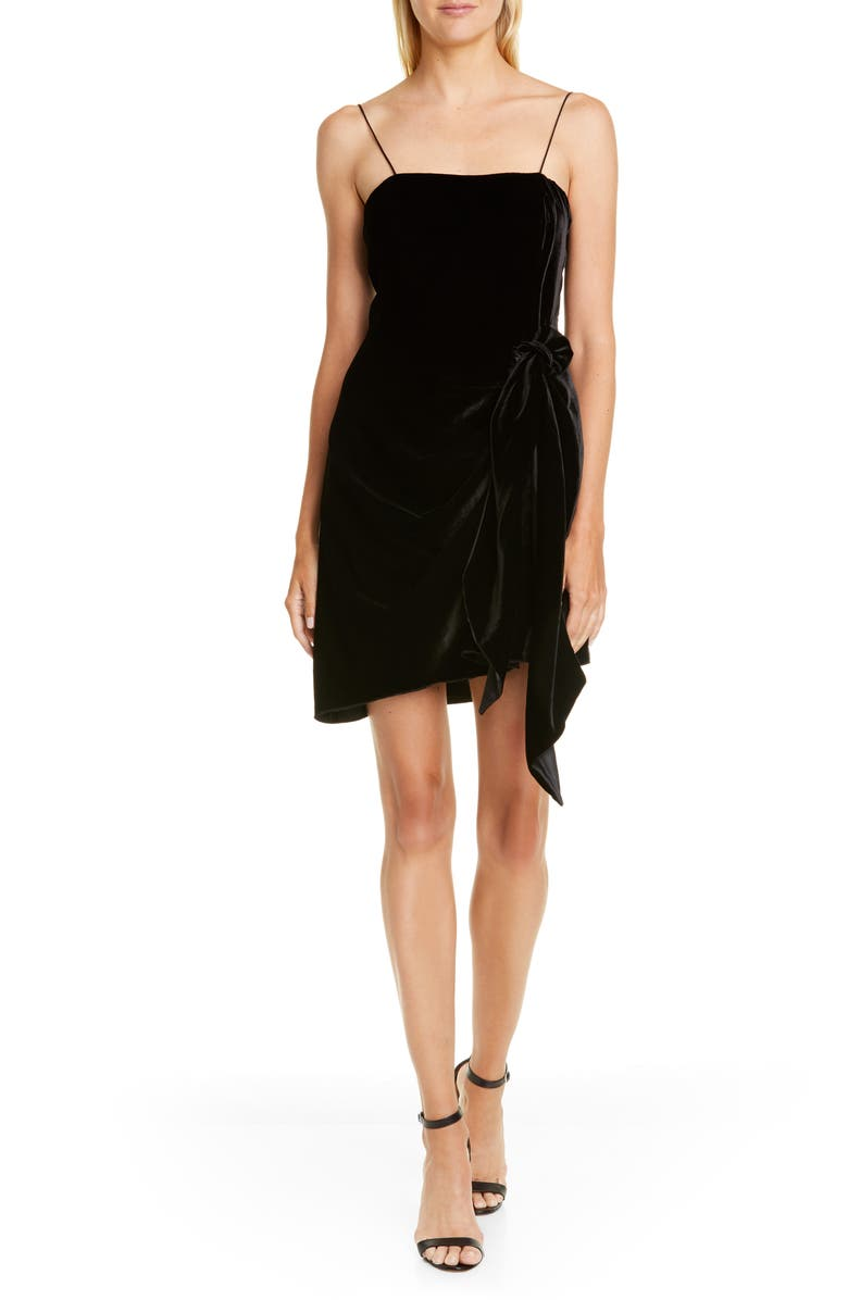 CINQ À SEPT Kiki Knotted Velvet Minidress, Main, color, BLACK