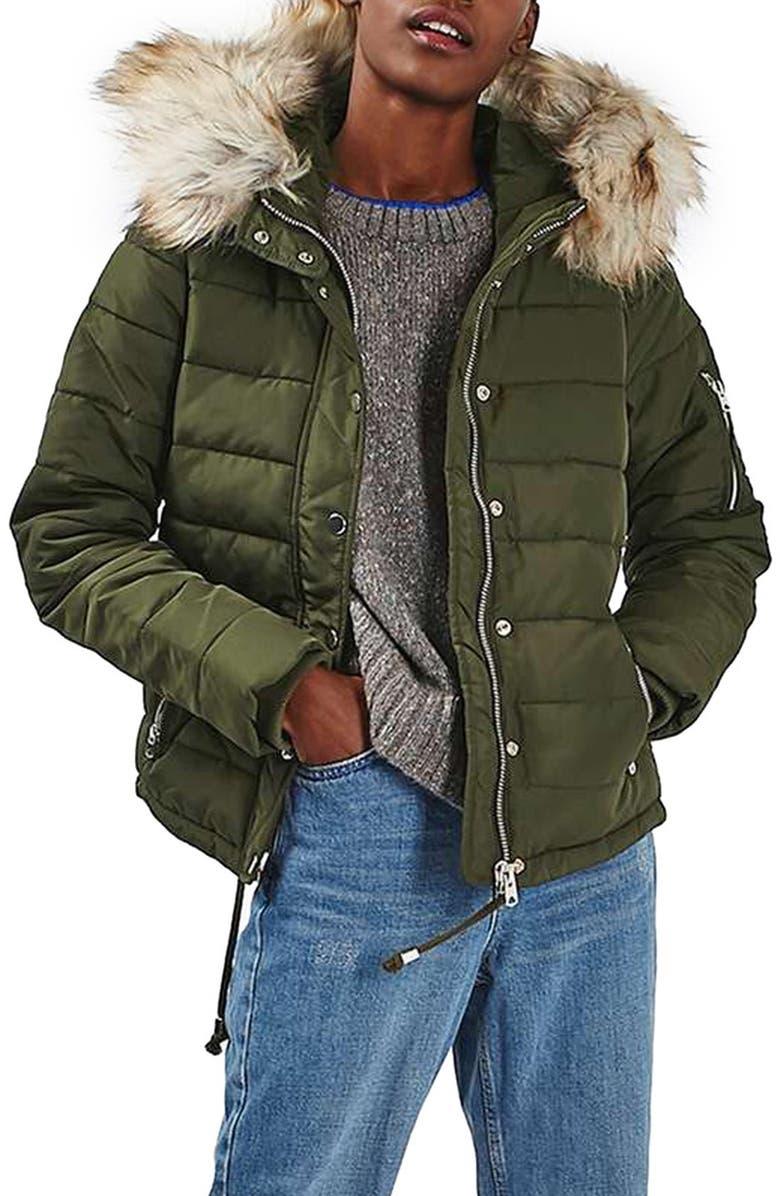 TOPSHOP Woody Faux Fur Hood Puffer Jacket, Main, color, 300