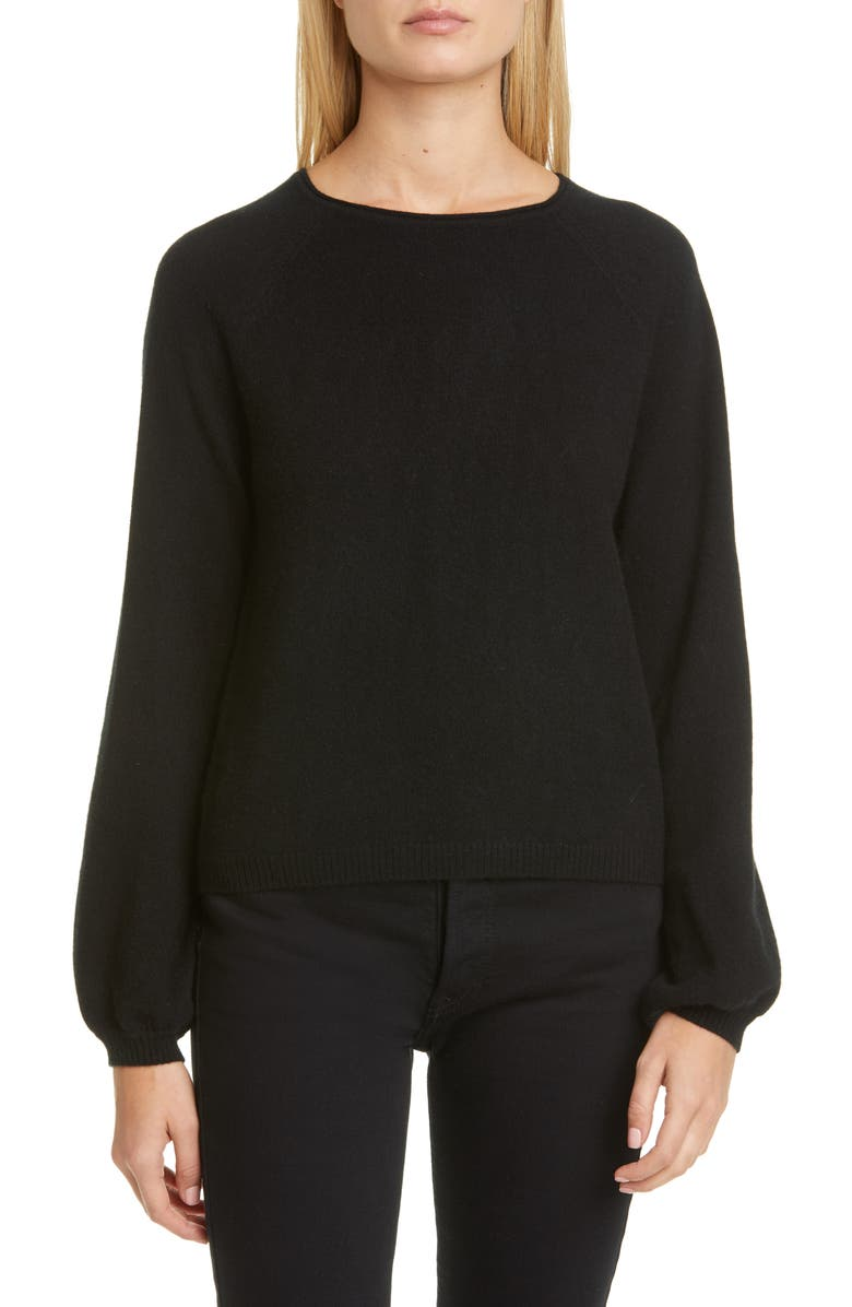 CO Raglan Sleeve Cashmere Peasant Sweater, Main, color, BLACK