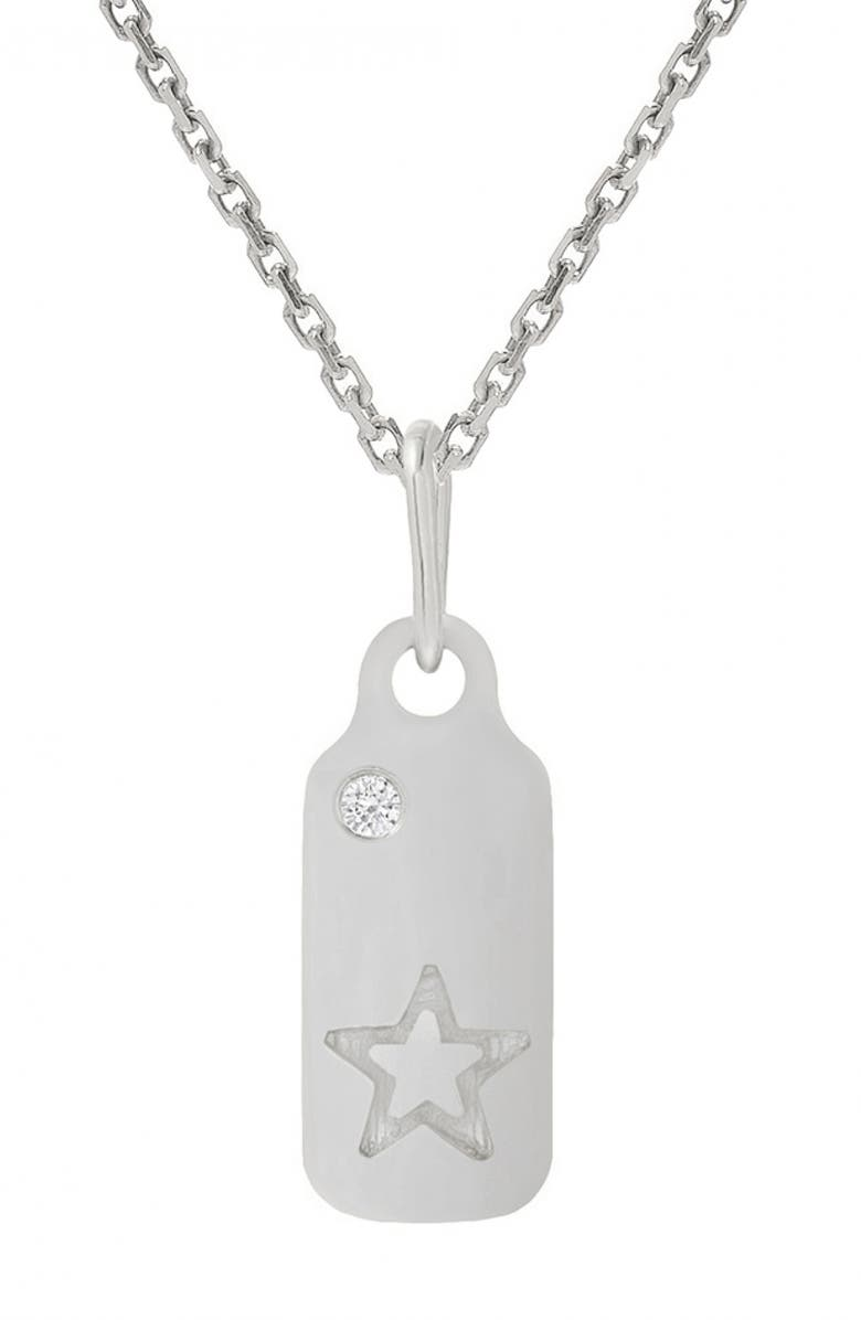 MINI MINI JEWELS Icons - Star Diamond Dog Tag Necklace, Main, color, WHITE GOLD