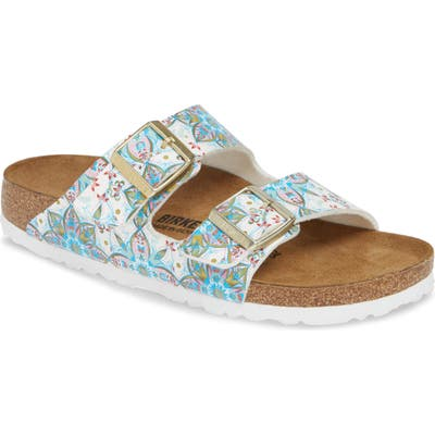 Birkenstock Arizona Boho Flowers Slide Sandal, White