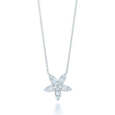 Kwiat Sunburst Flower Diamond Pendant Necklace