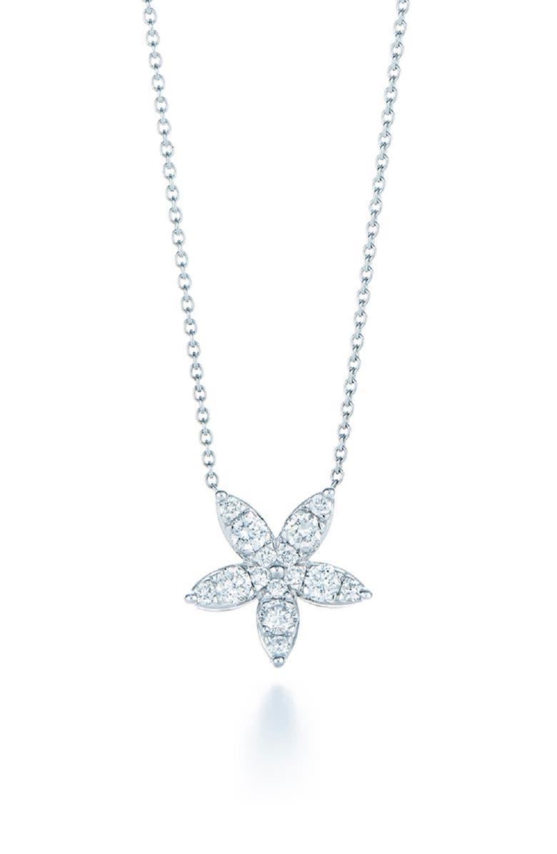 KWIAT Sunburst Flower Diamond Pendant Necklace, Main, color, WHITE GOLD
