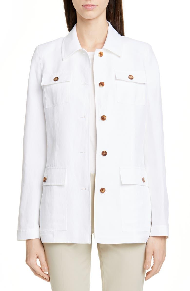 LAFAYETTE 148 NEW YORK Lafayette 138 New York Tamaya Metropolis Linen Blend Jacket, Main, color, 100