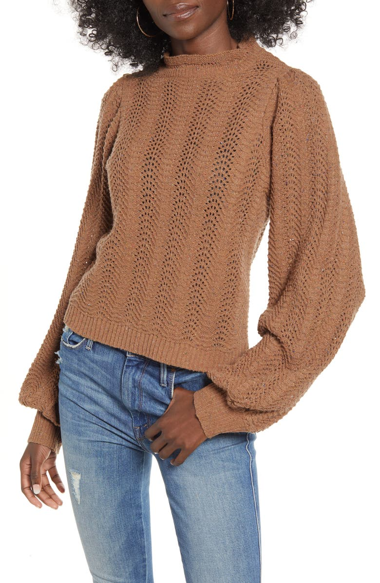 ASTR THE LABEL ASTR Brynn Pointelle Blouson Sleeve Sweater, Main, color, CARAMEL MULTI