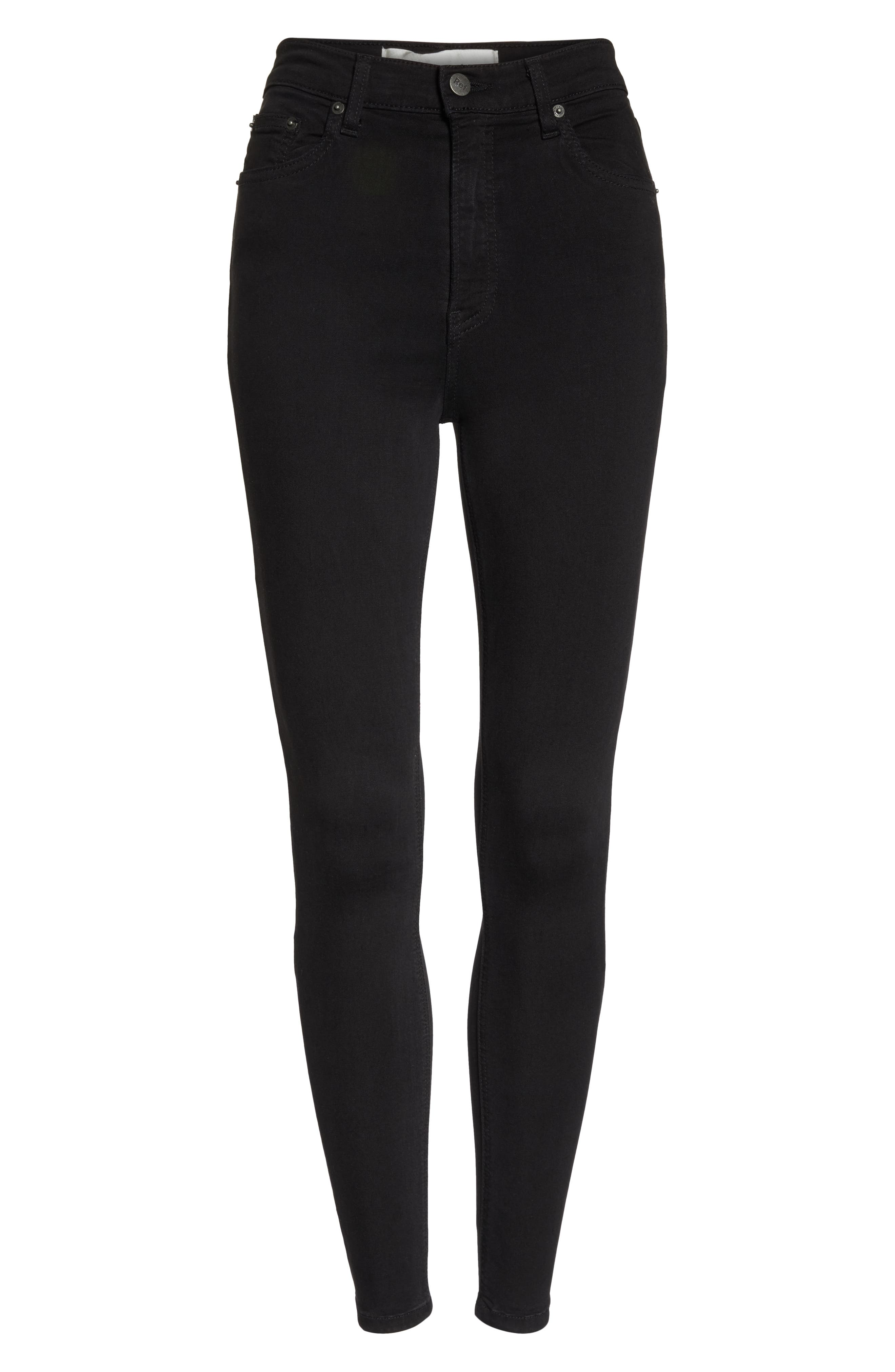 ,                             High & Skinny Crop Jeans,                             Alternate thumbnail 6, color,                             FADED BLACK