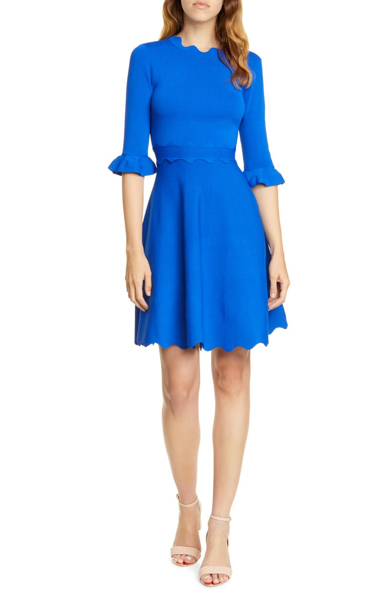 TED BAKER LONDON Lauron Fit & Flare Sweater Dress, Main, color, BLUE