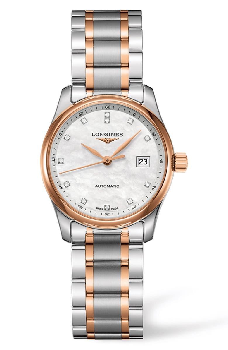 LONGINES Master Automatic Diamond Bracelet Watch, 29mm, Main, color, SILVER/ MOP/ SILVER
