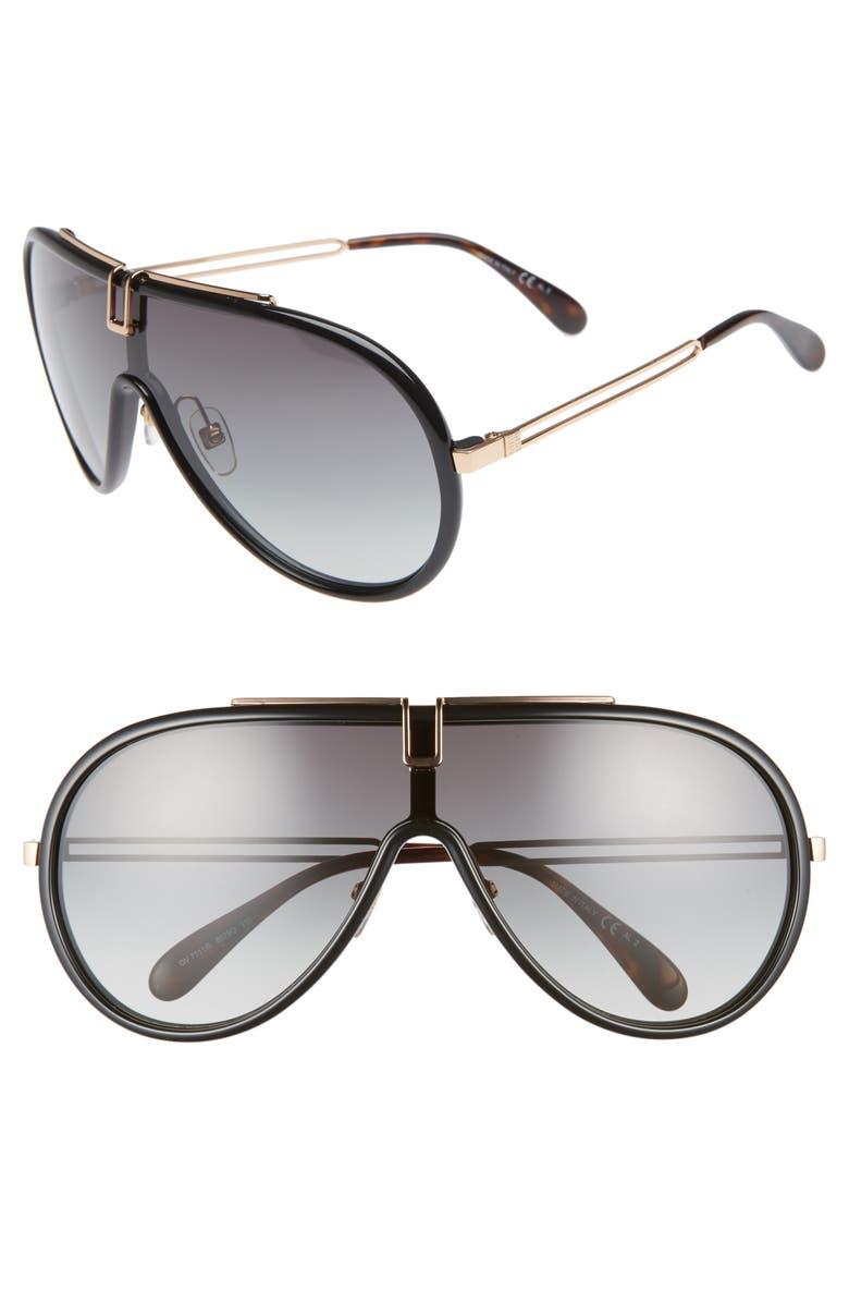 GIVENCHY 99mm Shield Sunglasses, Main, color, BLACK