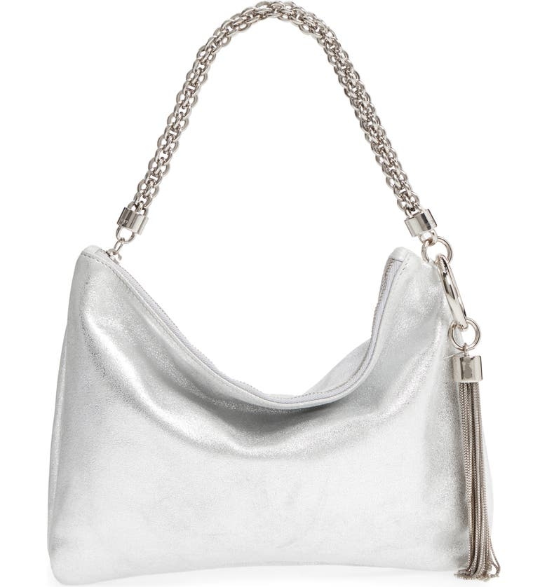 JIMMY CHOO Callie Evening Metallic Leather Clutch, Main, color, SILVER