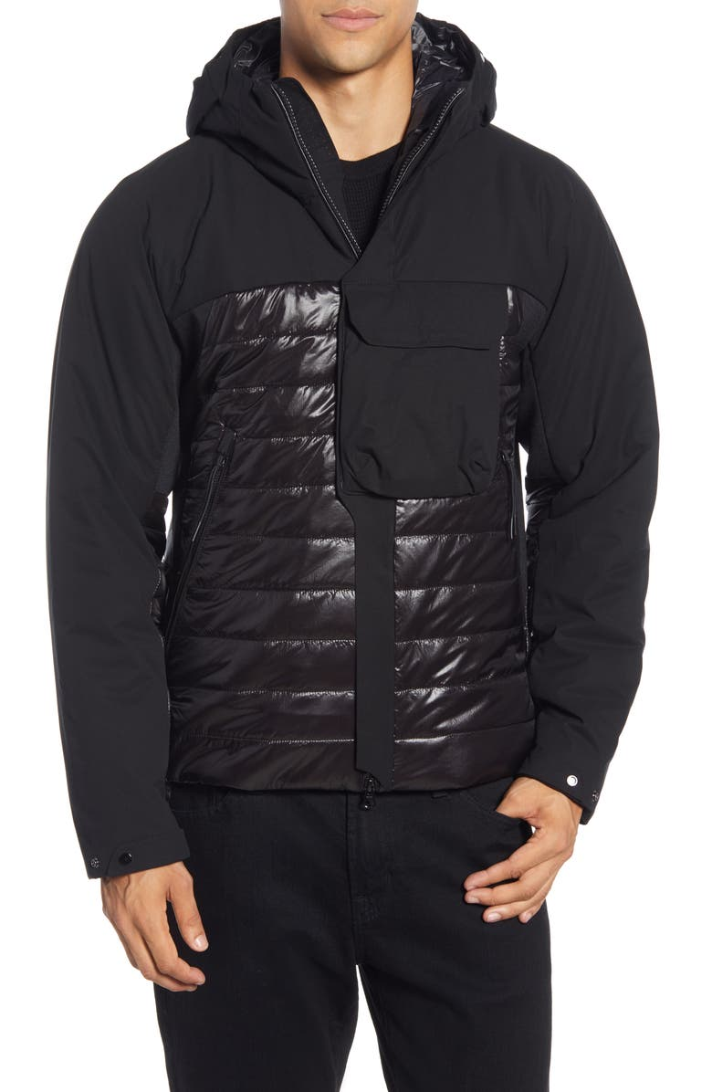 C.P. COMPANY Water-Resistant Hooded Nylon Jacket, Main, color, BLACK