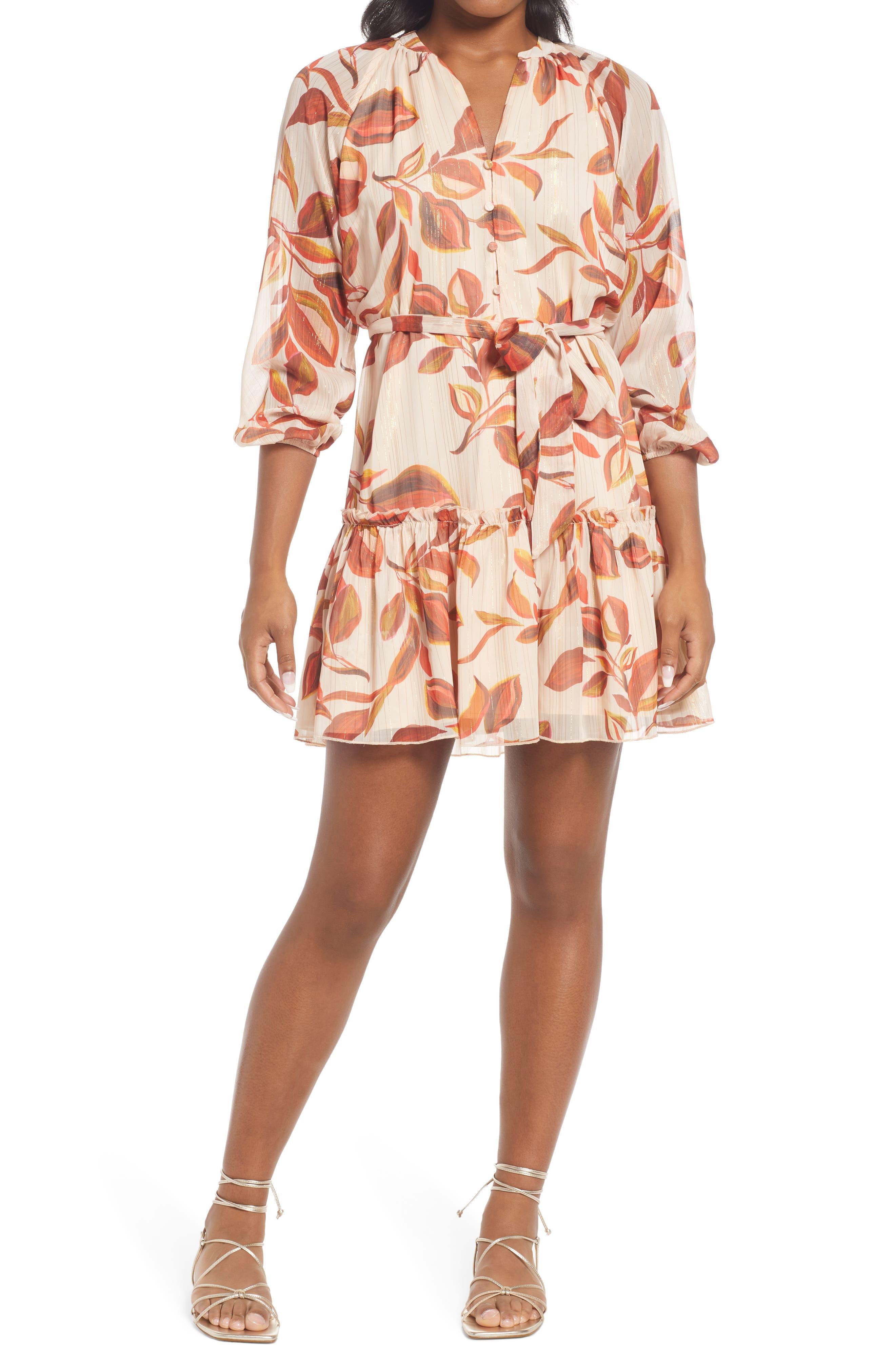 Trina Popover Long Sleeve Chiffon Dress