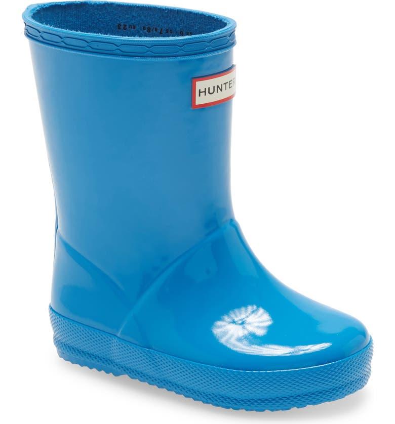 HUNTER 'First Gloss' Rain Boot, Main, color, BLUE BOTTLE