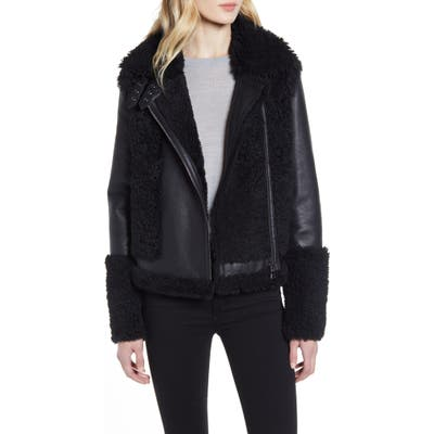 Hiso Soul Reversible Genuine Shearling Moto Jacket, Black