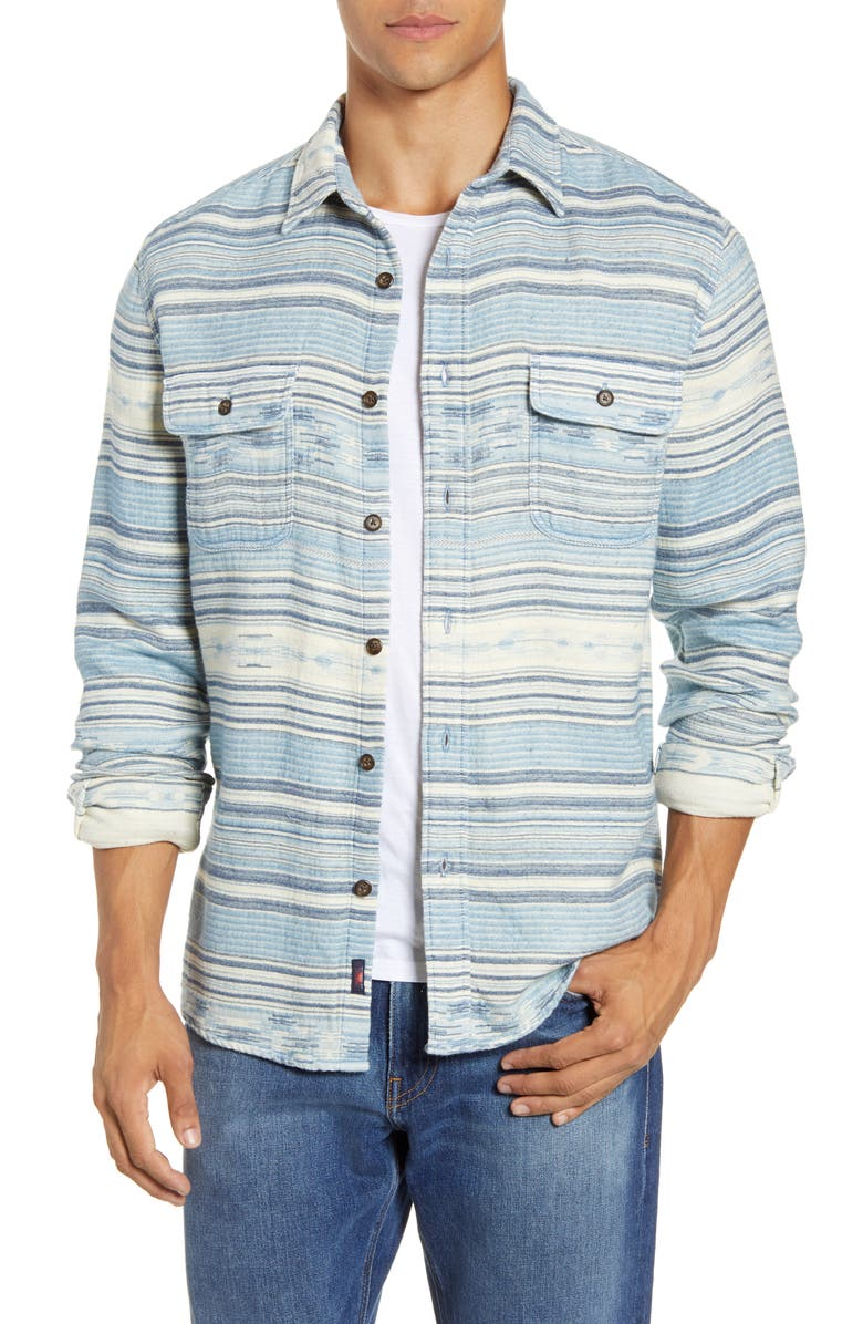 FAHERTY Canyon Regular Fit Stripe Cotton Shirt Jacket, Main, color, INDIGO WOODS STRIPE