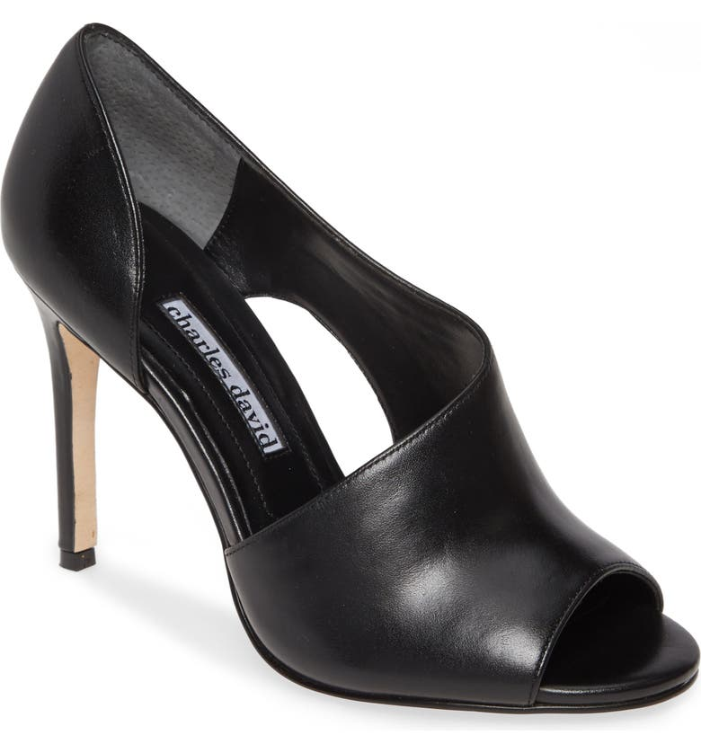 CHARLES DAVID Congress Cutout Peep Toe Pump, Main, color, BLACK LEATHER