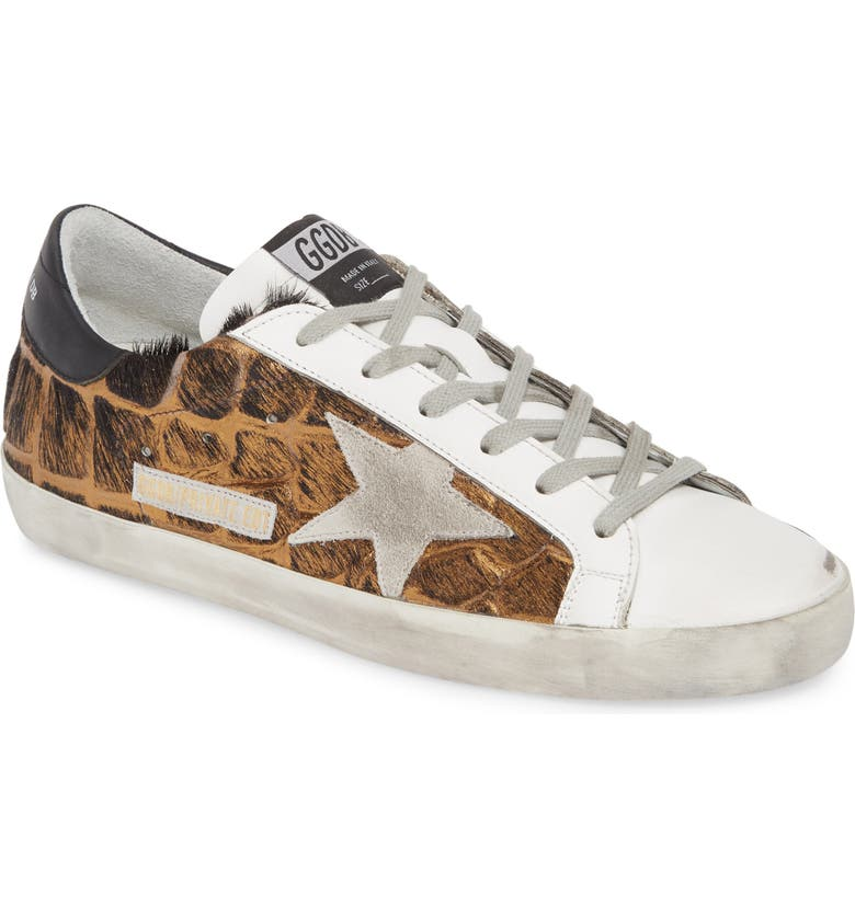GOLDEN GOOSE Superstar Genuine Calf Hair Sneaker, Main, color, BLACK/GOLD CALF HAIR