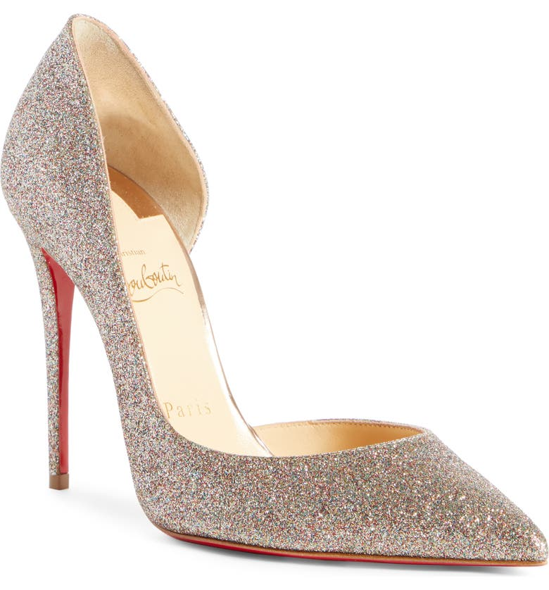 CHRISTIAN LOUBOUTIN Iriza Half d'Orsay Glitter Pump, Main, color, BLUSH MULTI