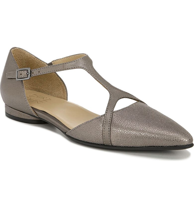 NATURALIZER Hana Pointy Toe Flat, Main, color, PEWTER LEATHER