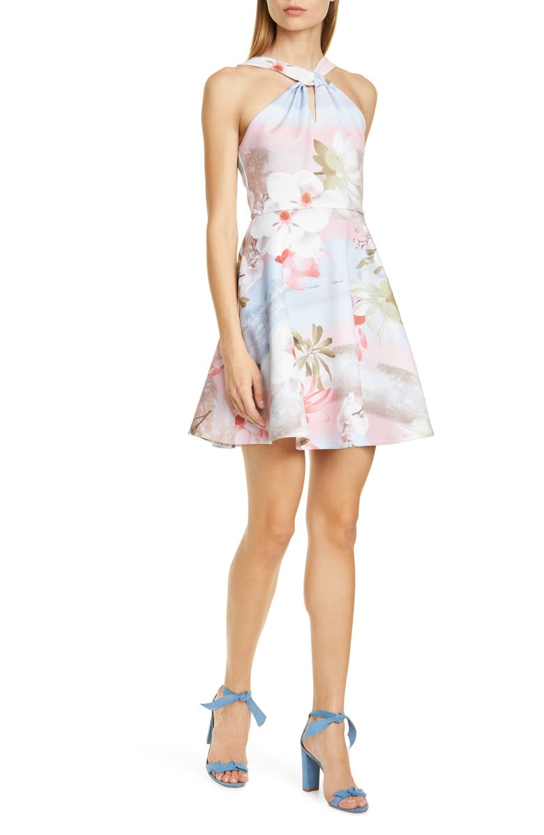 TED BAKER LONDON Umerta Floral Skater Minidress, Main, color, LIGHT BLUE