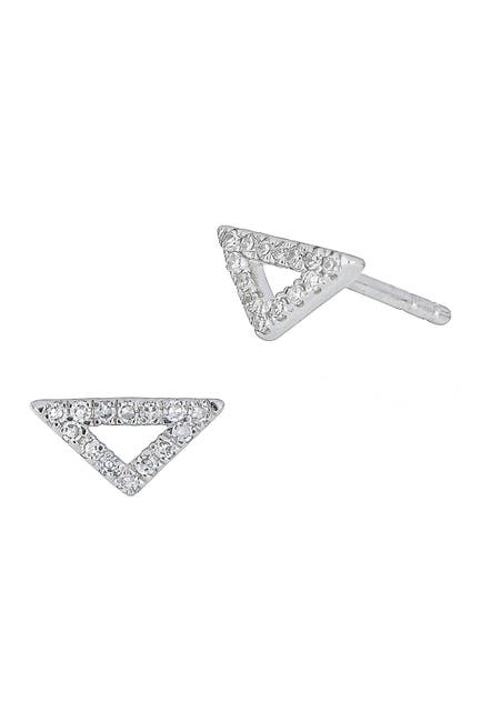 Image of Carriere Sterling Silver Petite Triangle Diamond Stud Earrings - 0.10 ctw