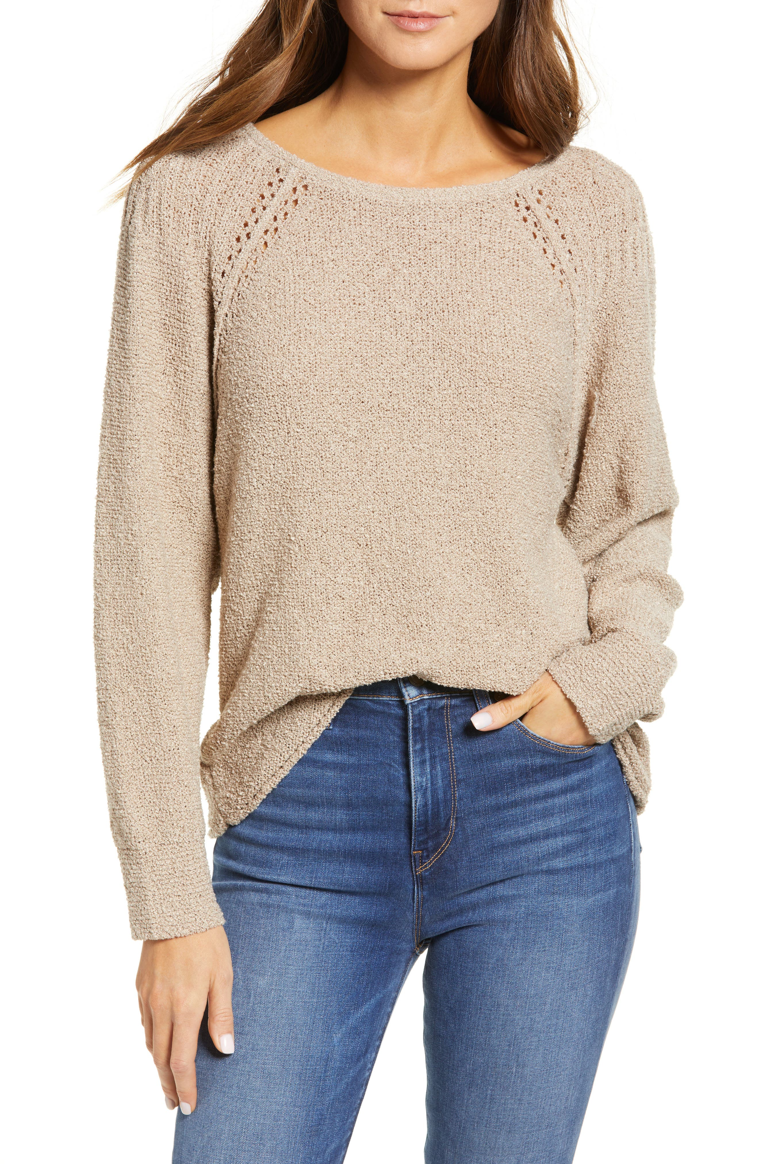 Boucle yarn adds soft, subtle texture to a relaxed sweater fashioned with pointelle at the raglan sleeves. Style Name: Caslon Boat Neck Boucle Sweater. Style Number: 5793092. Available in stores.