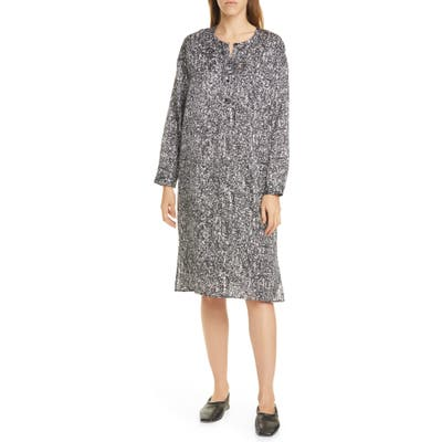 Eileen Fisher Silk & Organic Cotton Long Sleeve Henley Dress, Black
