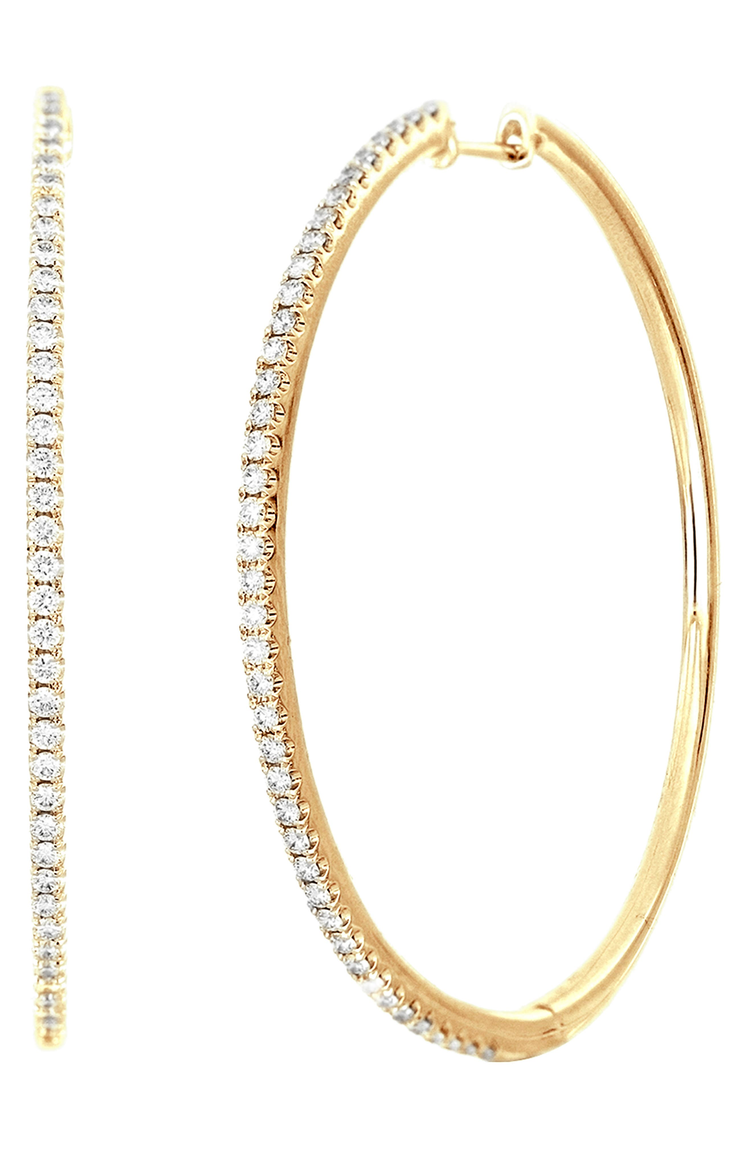 These timeless large hoops offer delicate shape and plenty of sparkle thanks to polished 18-karat gold and pave diamonds. Style Name: Bony Levy Bardot Diamond Hoop Earrings (Nordstrom Exclusive). Style Number: 6063820. Available in stores.