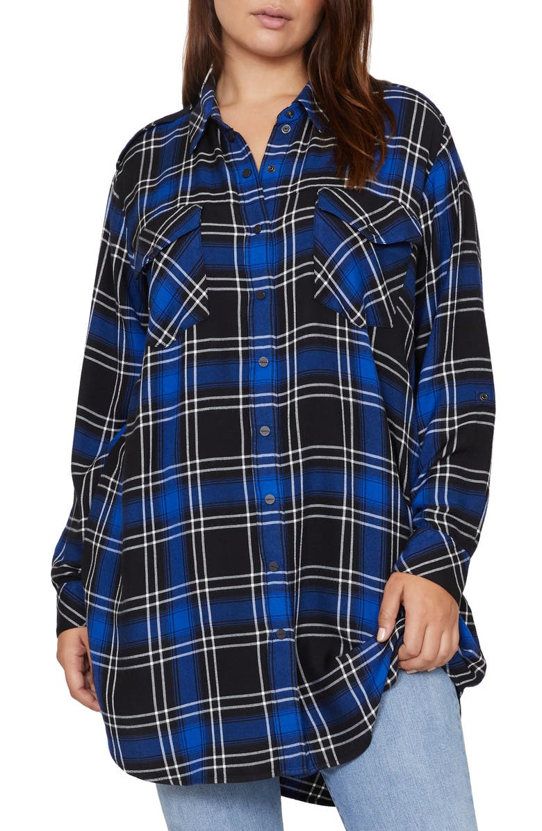 SANCTUARY Main St Boyfriend Tunic Shirt, Main, color, WEB BLUE PLAID