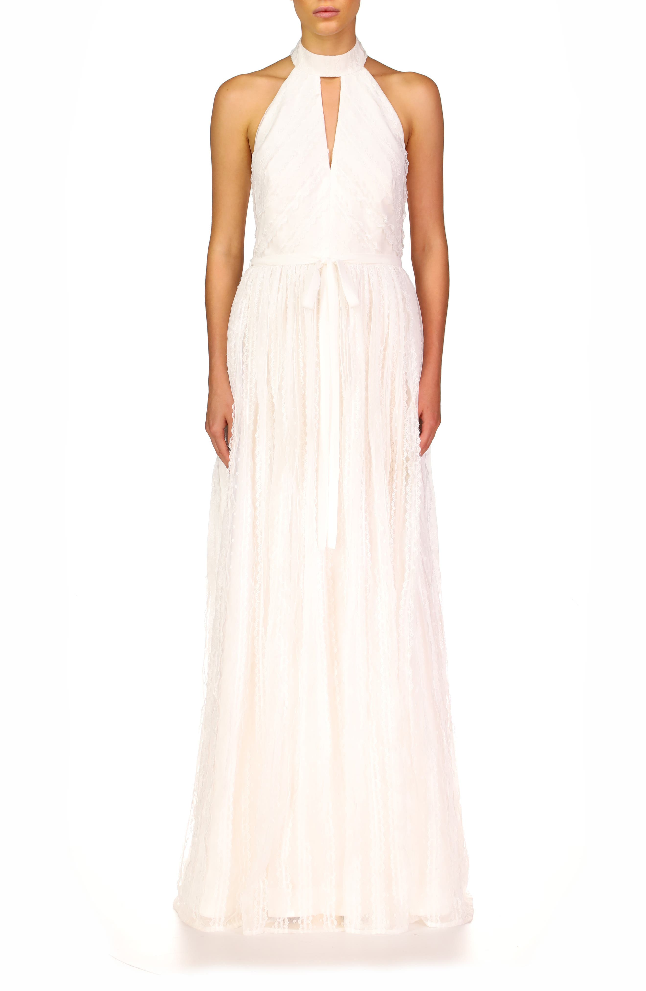 Keyhole Halter Neck A-Line Gown