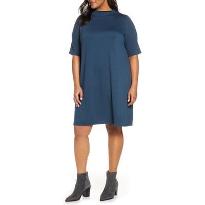 Plus Size Eileen Fisher Funnel Neck Elbow Sleeve Dress, Blue