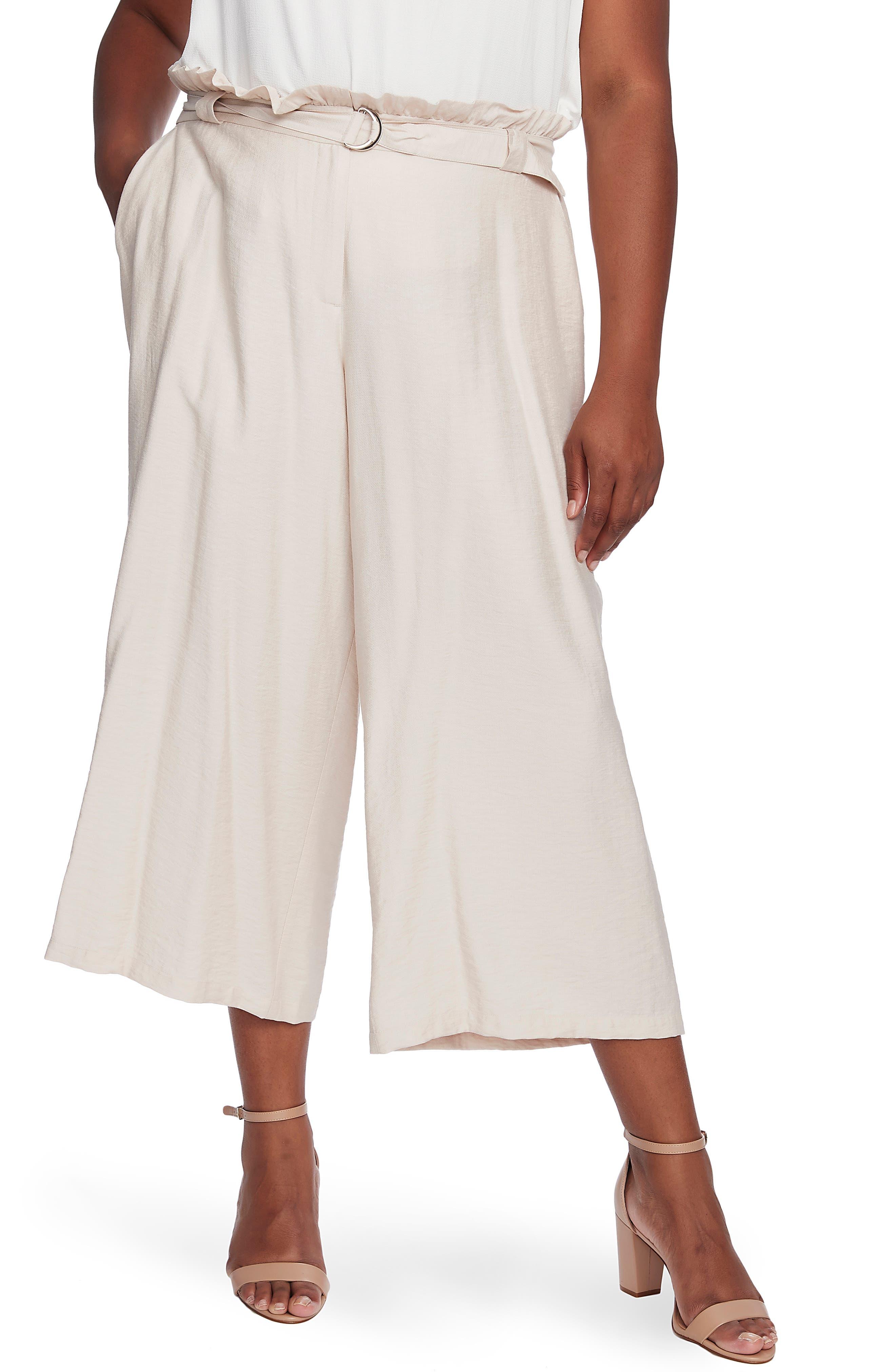 Plus  Women's Cece Paperbag Waist Rumple Wide Leg Crop Pants,  14W - Ivory