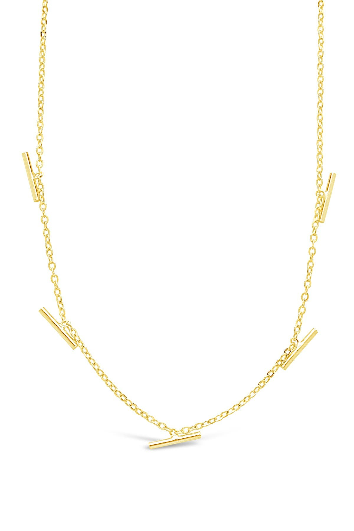 Sterling Forever 14K Gold Plated Sterling Silver Bar Charm Necklace
